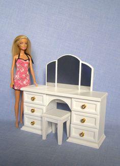 Dressing Schminktisch weiß für 12 Zoll-Puppe   Barbie-Puppe Haus Möbel  Hergestellt aus ad83ca5bc2