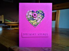 Hand made machine sewn birthday card made with Regent Street Moda fabric and a button