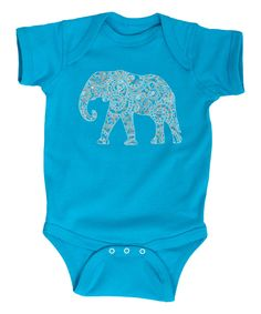 Another great find on #zulily! Turquoise Elephant Bodysuit - Infant by Cotton Jungle #zulilyfinds