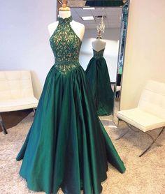 2017 New Arrival green high neck long prom dress, green evening dress