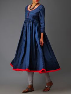 Deep Indigo Random Tuck Pleated Dress Trimmed in Red Pakistani Dresses Casual, Indian Dresses, Indian Outfits, Kurta Patterns, Dress Patterns, Indian Attire, Indian Ethnic Wear, Indian Style, Designer Wear