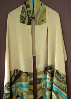 Tallit  94 in x 24 in (240cmx62cm)  Stone silk and hand painted silk. $400.00, via Etsy.
