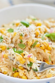 """A recipe for quick and easy orzo pasta """"risotto"""" made with fresh corn and basil. Rice Dishes, Pasta Dishes, Food Dishes, Vegetarian Recipes, Cooking Recipes, Healthy Recipes, Orzo Recipes, Dinner Recipes, Noodle Recipes"""