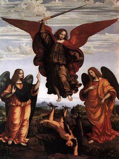 OGGIONO Marco d The Three Archangels St Michael St Raphael and St Gabriel vanquishing Satan - Bing Images