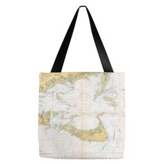 Nantucket Nautical Chart Tote Bags