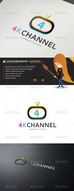4K Television Channel Logo — Vector EPS #game #tv • Available here → https://graphicriver.net/item/4k-television-channel-logo/4302022?ref=pxcr