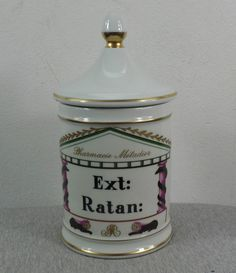 Antique French Limoges Pharmacie Drugstore Apothecary 'Ratan' Porcelain Jar Pot | eBay