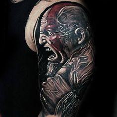 Amazing guys kratos god of war half sleeve tattoo Sleeve Tattoos For Women, Tattoo Sleeve Designs, Women Sleeve, Tattoo Designs For Women, Tattoos For Guys, Guy Tattoos, Urban Threads, Owl, Smaller Thighs