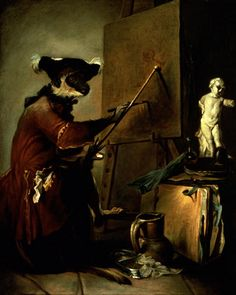 Jean-Baptiste Siméon Chardin. Le singe peintre - the monkey as painter. 1740 Canvas, 73 x 59,5 cm M.I. 1033 Louvre, Departement des Peintures, Paris, France.