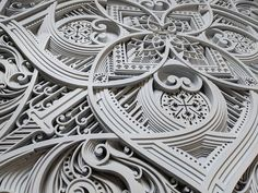 Oakland-based artist Gabriel Schama creates laser-cut wood relief wall art that feature layers of intricate swirls and abstract patterns. Myriads of geometric lines take the shape of human silhouettes, architectural elements, and mandala-like designs. Laser Art, Laser Cut Wood, Laser Cutting, Gabriel, Wood Sculpture, Sculptures, Laser Cutter Ideas, Wood Carving Art, Geometric Lines