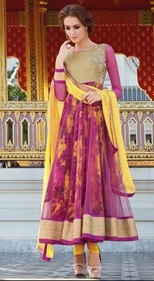 Pink Printed Net Layered #Anarkali Chudidar Suit #trendy-salwar-patterns #best-salwarkameez Visit Our Store: http://www.ethnicwholesaler.com/salwar-kameez/party-wear-salwar-kameez