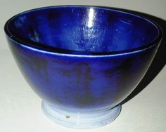 Scottish Antique spongeware Flow Blue tea bowl.