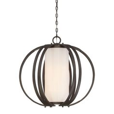 Openwork steel pendant with a glass shade.   Product: PendantConstruction Material: Steel and glassCo...
