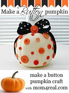 Super darling no carve pumpkin!! Button covered diy pumpkin craft. #pumpkin #halloweenpumpkin