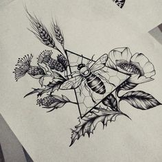 """121 Likes, 7 Comments - Salome Trujillo (@salome_ink_and_art) on Instagram: """"#beetattoo #bee #beedrawing #dotworkbee #thistle #thistles #thistledrawing #wheat #wheatdrawing…"""""""