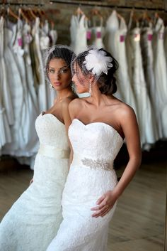 Birdcage Veil and Feather Hairpiece by shopjaxiebridal on Etsy, $175.00