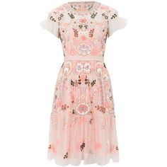 Needle and Thread Light Pink Floral Tiered Dress (£285) ❤ liked on Polyvore featuring dresses, pink summer dresses, tiered dress, zipper dress, light pink summer dress and pink dress