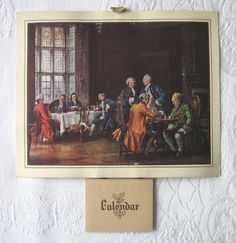 Original 1948 vintage calendar - Georgian dining room scene with chess players (print) - www.vanishederas.com