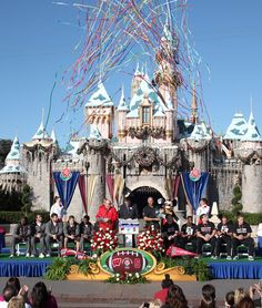 Wisconsin Badgers and Stanford Cardinal at the Rose Bowl game ceremony at Disneyland park