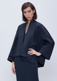 - Description - Details - Customer Care With its elegant shape, soft shawl collar, and luxe linen-cashmere-silk fabric, our kimono-inspired silhouette is more than this season's must-have. It's an obj