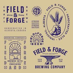 Project: Field & Forge Brewing Co. Vintage Logos, Ford Vintage, Logos Retro, Vintage Logo Design, Vintage Branding, Vintage Labels, 2 Logo, Badge Logo, Typography Logo