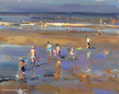 """Posted at: https://roosschuring.com/painting-seascapes/warm-spring-day/ Seascape Warm Spring Day. Those warm days can deliver! All colors can turn dark, yet accentuating the warmth. Purples, blues, skin catching lights. SSP08 Seascape Plein air Painting """"Warm Spring Day"""" Roos Schuring, oil on canvas, 24 × 30 cm   9.6″ x 11.8″ (sold) There's more at: https://roosschuring.com #Beach, #Coastal, #Paintingfigures, #Reflections, #Seascape, #Shoreline, #Wets"""