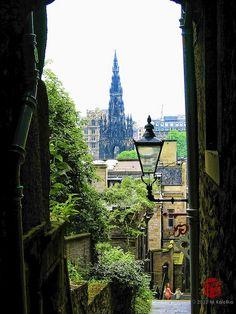 Advocate's Close, with a view toward Scott's Monument, Edinburgh, Scotland