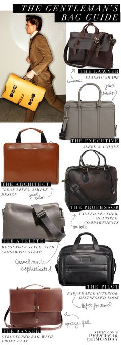 Menswear Monday: The Gentleman's Bag Guide | saguaros and stilettos