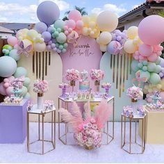 Baby Shower Table Decorations, Mermaid Party Decorations, Birthday Balloon Decorations, Birthday Balloons, Birthday Parties, Pastel Balloons, Gold Confetti Balloons, Rainbow Balloons, Balloon Arch