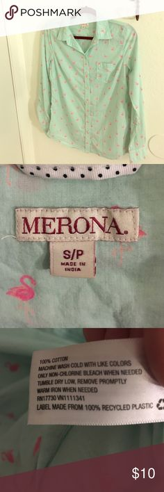 Mint Green Pink Flamingo Print Longsleeve Shirt Longsleeve button up with buttons on the cuff. Mint green with cute flamingos all over. Bought at Target. Lightly worn. Merona Tops Button Down Shirts
