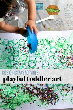 Love this Christmas activity for kids. Playful toddler art: simple, big on exploring new materials and fun to create. ~via Lessons Learnt Journal