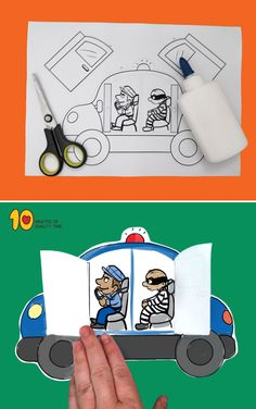 Police Car With Opening Doors - Paper Cr. - Police Car With Opening Doors – Paper Craft Effektive Bilder, die wir über motorad helme anbiet - Fun Activities For Kids, Kindergarten Activities, Preschool Crafts, Art For Kids, Crafts For Kids, Arts And Crafts, Paper Crafts, Kids Police Car, Police Police