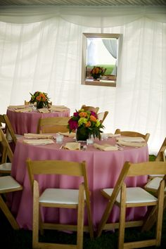 Bright Centerpieces with Shades of Pink, Orange and Green  http://www.busseysflorist.com/wedding-flowers/