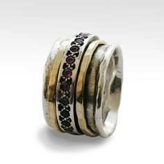 Saphire Meditation-Ring silber gold Ringschiene Boho-Ring
