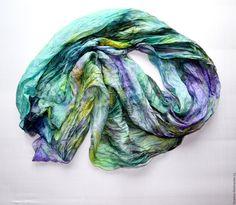 Купить мятно сиреневый шелковый шарф ручная окраска, натуральный шёлк - шарф шелковый, шарф большой
