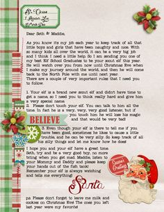 great elf on the shelf letter!