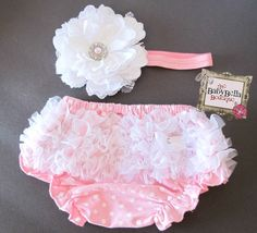 Baby Girl Baby Ruffle Bloomers set , chiffon  Ruffle Baby Bloomer.. Diaper cover and headband set , Photo prop