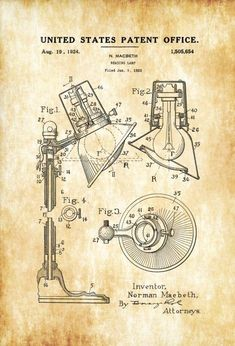 Lamp Base Patent Print Decor Kitchen Decor Restaurant