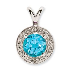 Round Blue Topaz December Birthstone Diamond Sterling Silver Pendant Available Exclusively at Gemologica.com