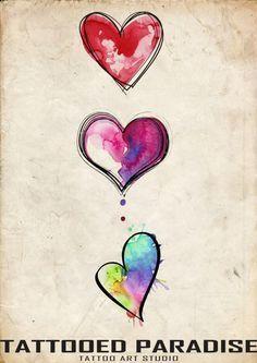 heart watercolour tattoo - Google Search