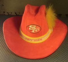"Vintage AJD Red #49ers Cowboy Hat ""FORTY NINERS""  w/ Gold Feather Men's SM 7-3/4"" #AJD #SanFrancisco49ers"