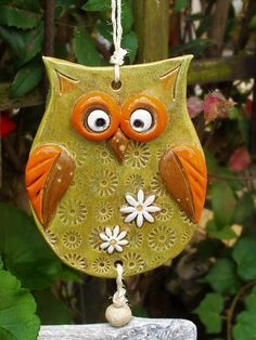 Garden decoration - owl wind chime garden ceramics unique - a designer piece by . - Garden decoration – owl wind chime garden ceramics unique – a unique product by Terra-Cottage on - Groot Figurine, Clay Projects, Clay Crafts, Craft Supplies Usa, Polymer Clay Ornaments, Sculptures Céramiques, Nuno Felting, Silk Painting, Clay Art