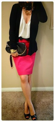 Simple elegance without the extravagance! Simple Elegance, Elegant, Hot Pink Skirt, Pencil Skirt Outfits, Wild Orchid, Everyday Fashion, Magenta, Banana Republic, What To Wear