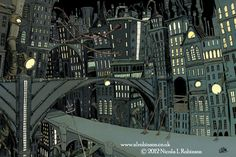 Downtown cityscape  childrens illustration by Nicola L Robinson