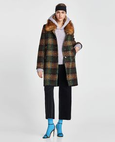 ZARA - NEW COLLECTION - TWEED COAT WITH FAUX FUR COLLAR