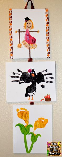 Fall Harvest Footprint Crafts for kids