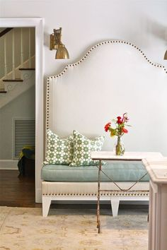 headboard turned into a bench~ cute!