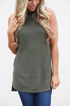 Turtle-neck Muscle Tank Knit {Olive}