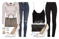 """""""jerrie insp - white pumps"""" by littlemixmakeup ❤ liked on Polyvore featuring River Island, Topshop, Accessorize, Manolo Blahnik, J Brand, Zara, Miss Selfridge, women's clothing, women and female"""