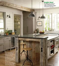 counter design, reclaimed wood with butcher block top, lighting, overall feel